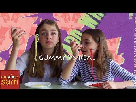 Sophia and Bella's Gummy vs Real Food!! 😂 Mugglesam