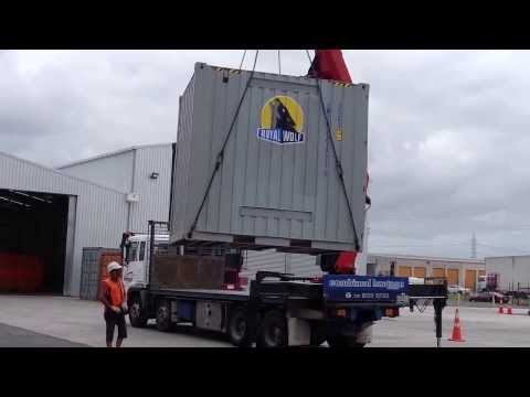 Crane truck delivery of a 10ft Shipping Container