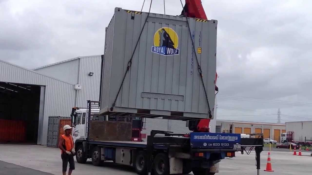 Crane Truck Delivery Of A 10ft Shipping Container Youtube