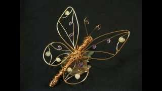 Butterfly On A Leaf #4 Wire Sculpture