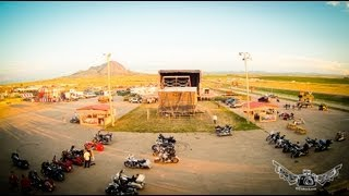 sturgis 2013 the broken spoke saloon pyramid productions stage goes up bear butte background