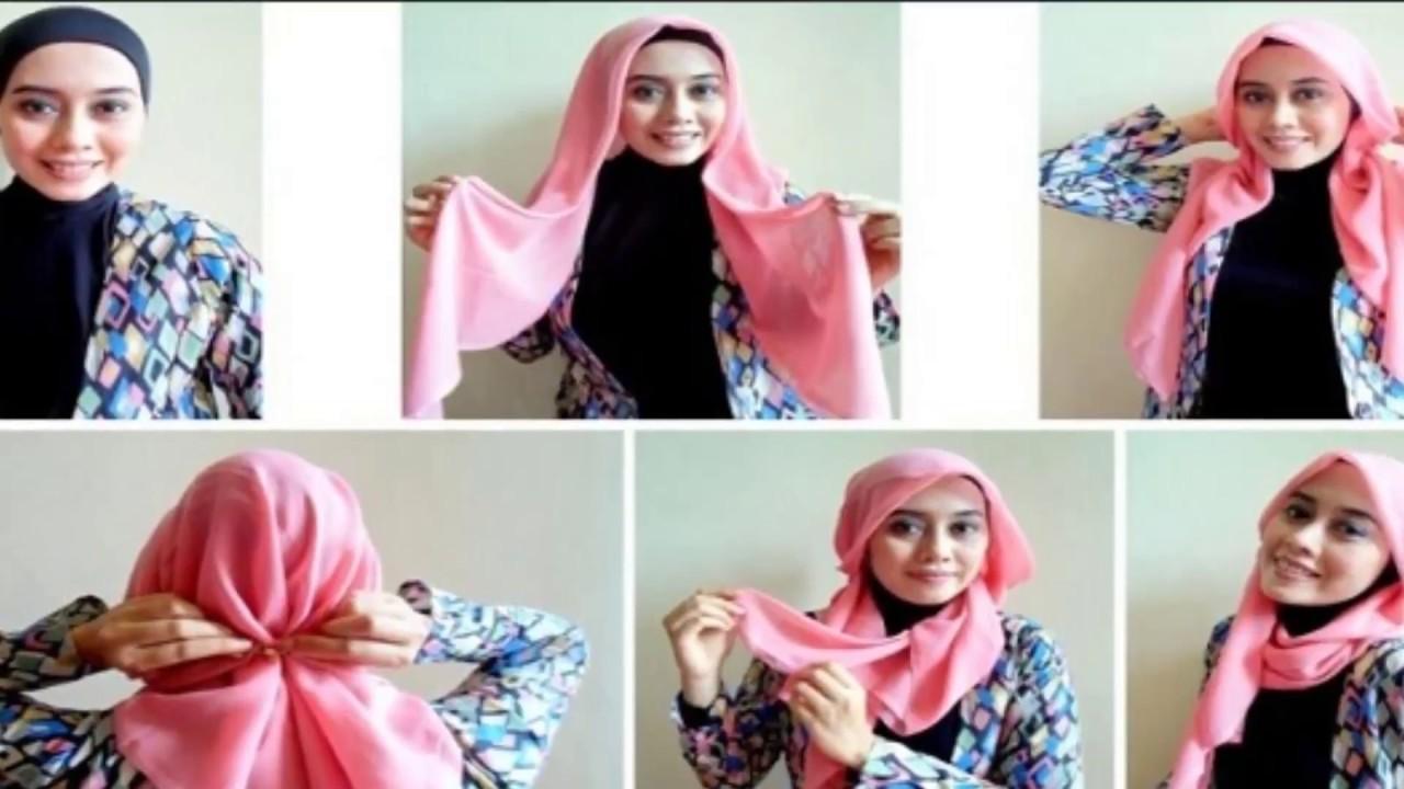 gambar tutorial hijab segi empat simple | tutorial hijab