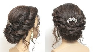 Simple Hair Bun.  Party Hairstyle For Girls. Easy Hairdo