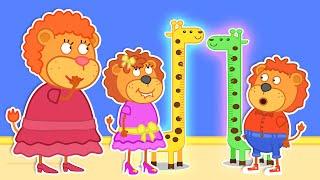 Lion Family 🍒 Growth Measurement | Cartoon for Kids