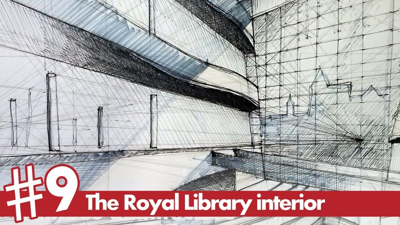 The Royal Library Interior Perspective Drawing Famous