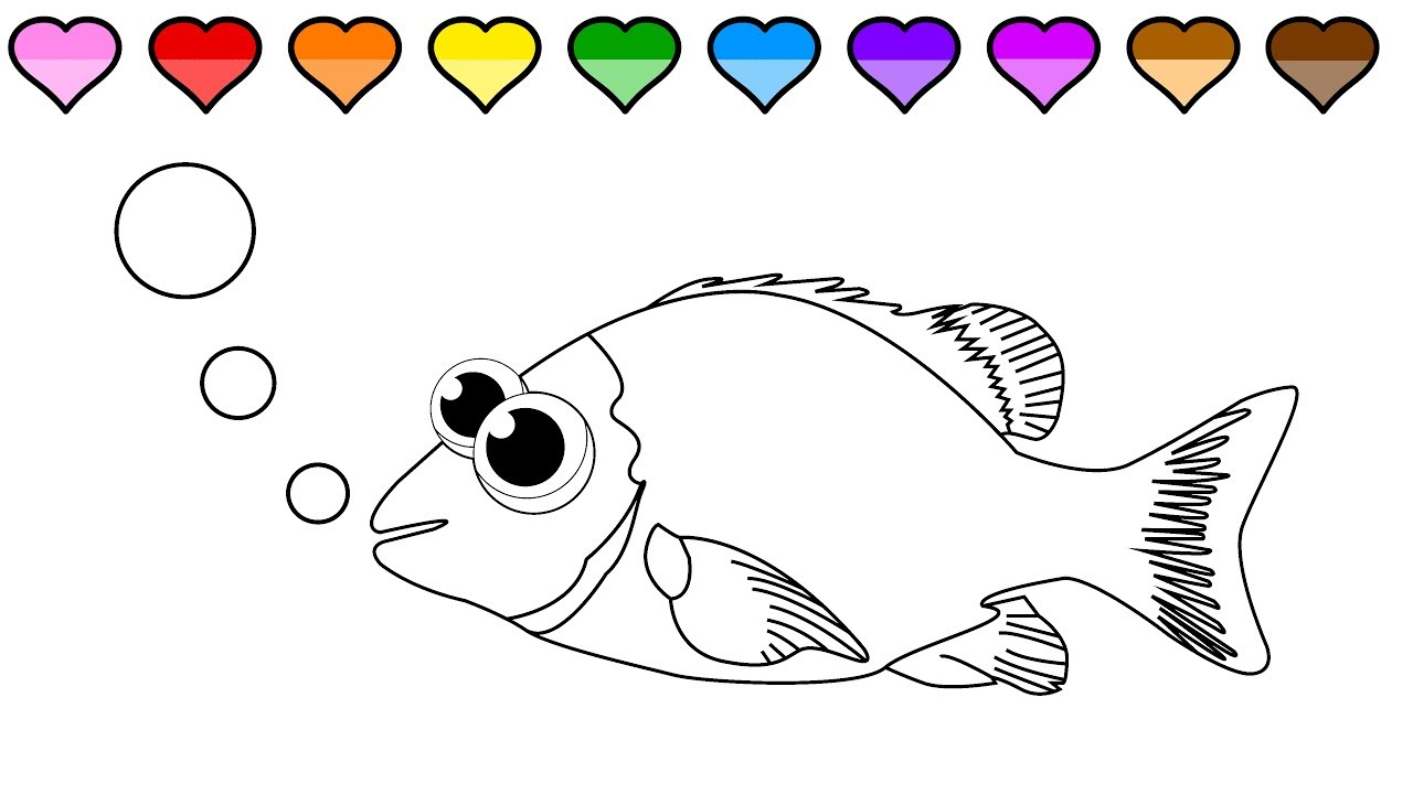 learn to color for kids and color a fish coloring page youtube