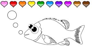 Learn to Color for Kids and Color a Fish Coloring Page