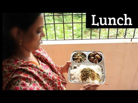 எங்க வீட்டு சமையல்/பாலக் கீரை குழம்பு, எண்ணெய் கத்தரிக்காய், குட்டி பாகற்காய் பொரியல்  /Lunch menu