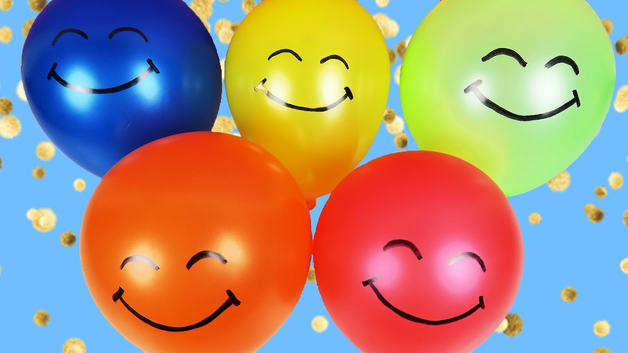 LEARN COLORS with Smiley Face Colorful Balloons | Finger Family ...