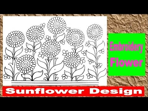 Sunflower embroidery design pencil sketch