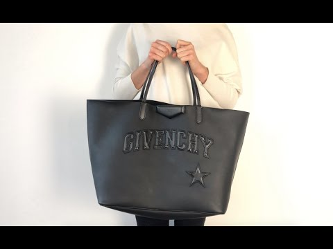 Givenchy Antigona Large Shopper Tote Bag with Logo in All Black ... 9097596db31ed