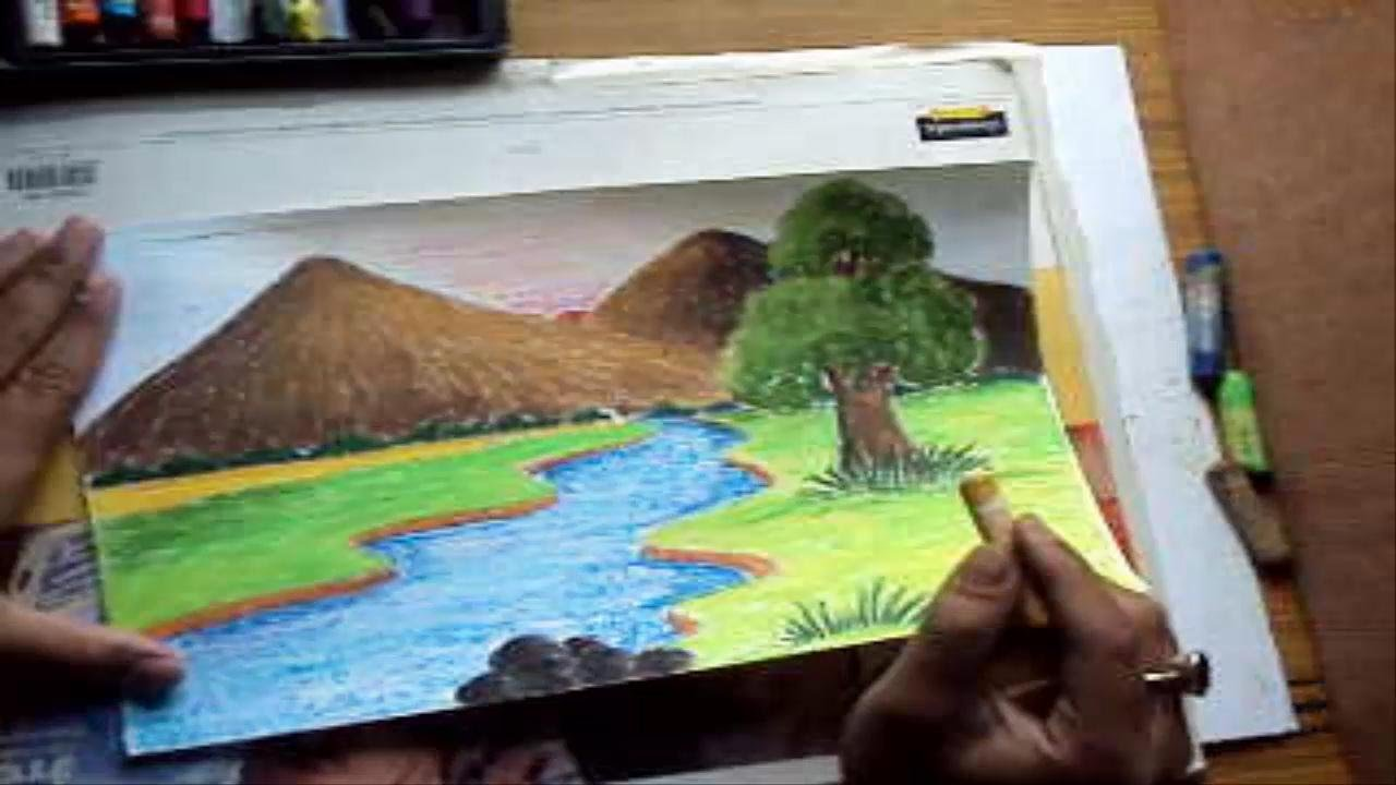 How To Draw A Landscape With Mountains River In Pastel Color