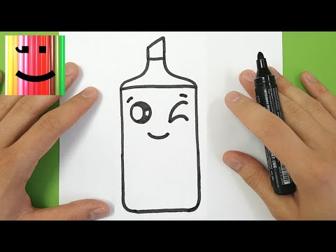 HOW TO DRAW A FLUORESCENT MARKER KAWAII