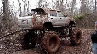 GIANT TOYOTA MUD TRUCK on TRACTOR TIRES PULLS STUCK BIG BLOCK CHEVY!
