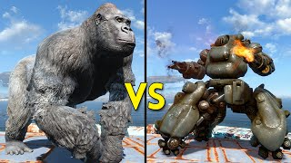 Fallout 4 - 100 GORILLAS vs 10 SENTRY BOTS - Battles #20