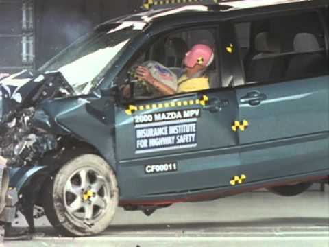 2000 Mazda MPV moderate overlap IIHS crash test