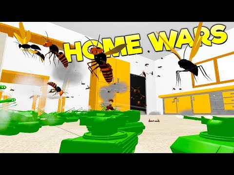 ARMY ANTI-AIRCRAFT VEHICLES VS SWARMS OF GIANT FLYING INSECTS! - Home Wars Gameplay