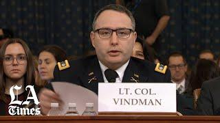 Trump impeachment hearing: Lt. Col. Alexander Vindman opening statement