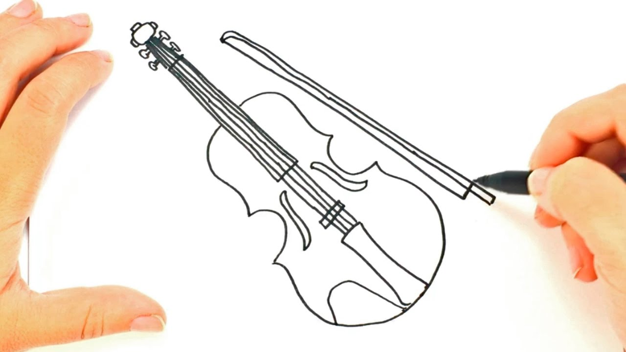 how to draw a violin violin easy draw tutorial youtube
