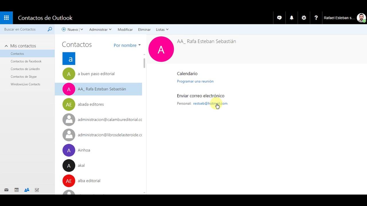 OUTLOOK 02 Modificar contacto - YouTube