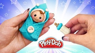 Play Doh Newborn Babydoll. How to Make Baby for Doll.  DIY Miniature Babydoll and Feeding Bottle