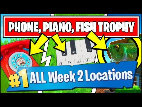 VISIT AN OVERSIZED PHONE, A BIG PIANO, AND A GIANT DANCING FISH TROPHY (Fortnite Season 9 Week 2)