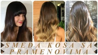 Nove frizure ombre pramenovi na tamno smeđoj kosi