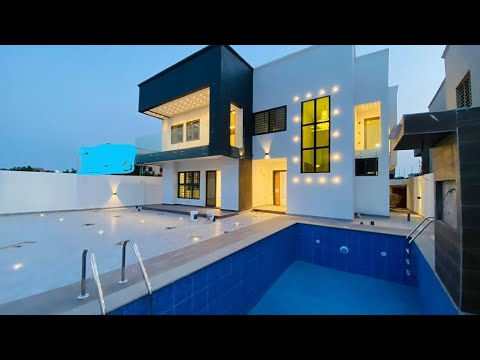 Building In Ghana || 4bedroom house with a swimming pool and a security post selling in Accra Ghana