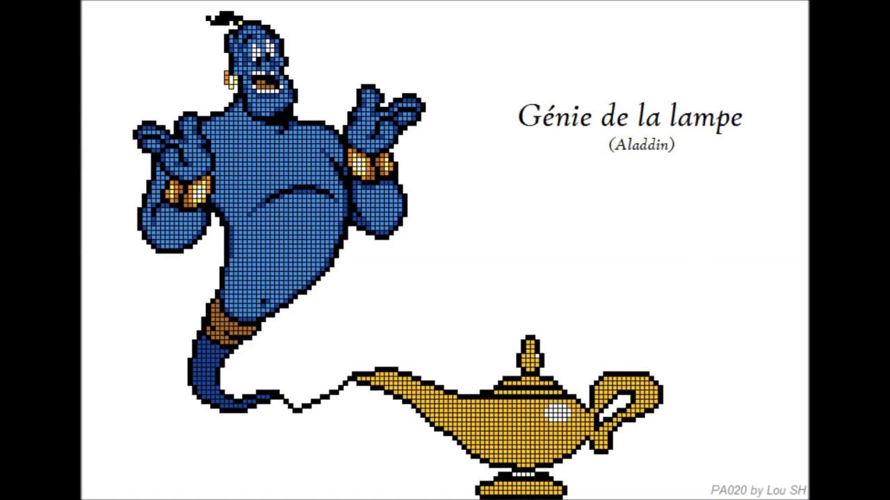 Le Genie De La Lampe Aladdin Pixel Art By Lou Sh