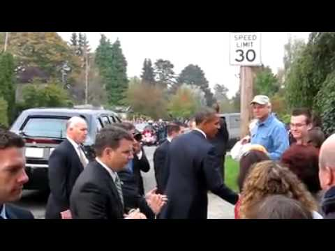 Obama greets the neighbors after his neighborhood chat Seattle October 2010