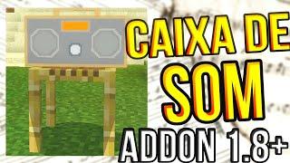 COMO TER UMA CAIXA DE SOM FUNCIONAL NO MINECRAFT PE 1.8.0.14 - Wonking Boombox Addon MCPE 1.8+