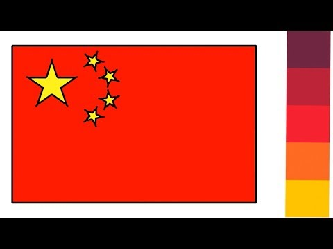 Chinese Flag Drawing For Kids How To Draw And Coloring    Little Channel    China Flag Drawing Easy