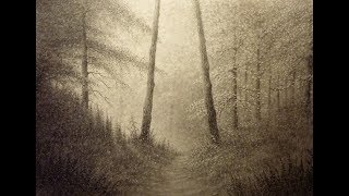 How to Draw Trees, Misty Forest Landscape Drawing in Graphite Powder