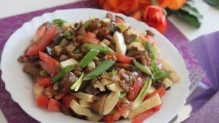 Салат из баклажанов, помидоров и сыра / Салат с жареными баклажанами