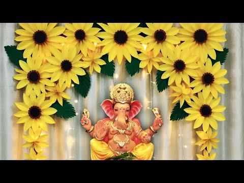 Eco Friendly Ganpati Decoration IDeas at home | Ganesh & Varalaxmi Decoration Ideas at home