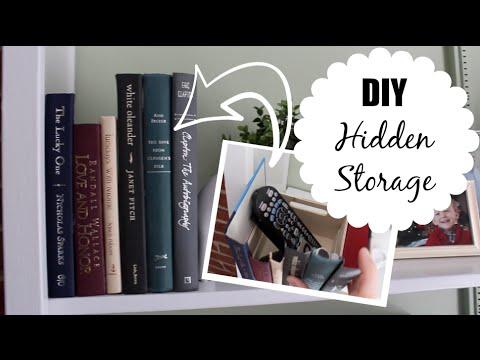 Diy hidden storage free book upcycle youtube for Diy hidden storage