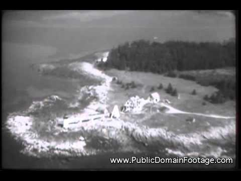 Archival footage United States Coast Guard lighthouses and stations