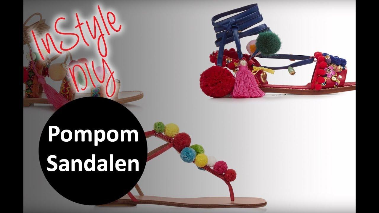 schuhe mit faeden selber dekorieren, instyle diy tutorial: pompom-sandalen selbst machen - youtube, Design ideen
