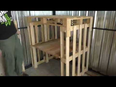 Temporary workshop wooden rack from palettes. DIY timelapse