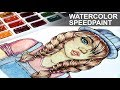 Cartoon TUMBLR GIRL with Braids Drawing 【  Watercolor Speedpaint 】