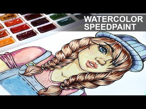 Cartoon TUMBLR GIRL with Braids Drawing 【  Watercolor Speedpaint 】
