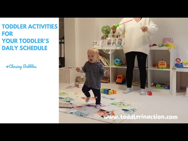 Easy and no-prep INDOOR GROSS MOTOR TODDLER ACTIVITIES AT HOME, CHASING BUBBLES