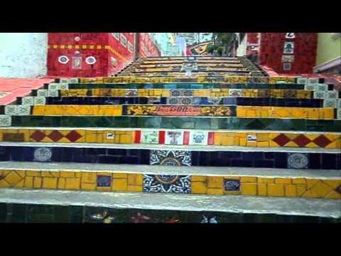 Escadaria Selarón. Lapa RIo de Janeiro. Ceramista Jorge Selarón. Música Mestre Cartola
