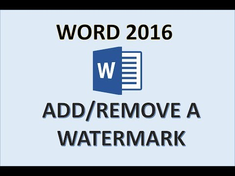 Word 2016 - Create Watermarks - How to Insert a Watermark in Microsoft MS - Create Add Make & Remove