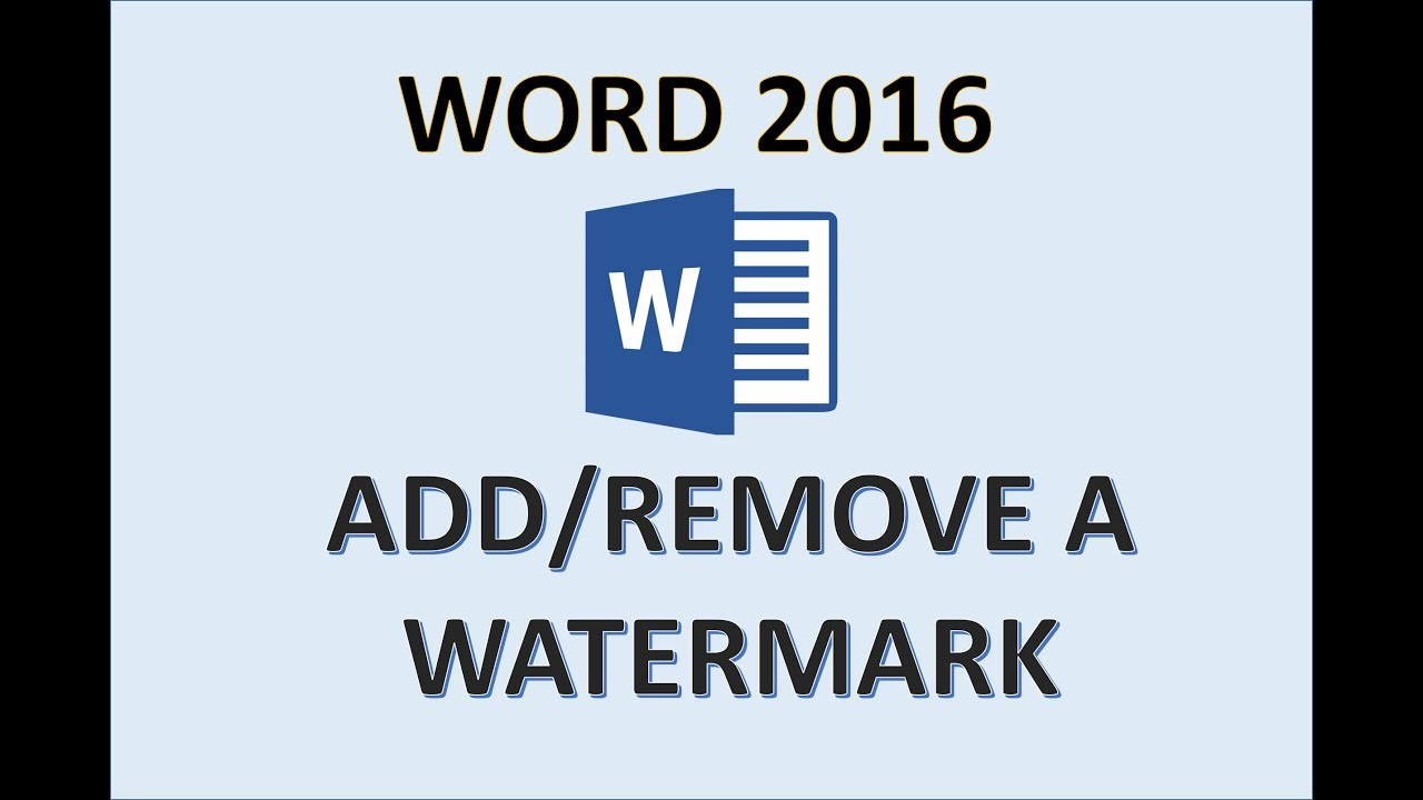 Word 2016 - Insert Watermark - How to Create Add Make Put & Remove Watermarks in MS Office Docum