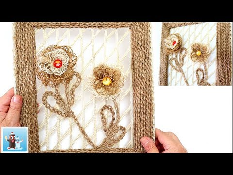 Jute Rope Wall Hanging with  Burlap Flowers Art and Craft Ideas