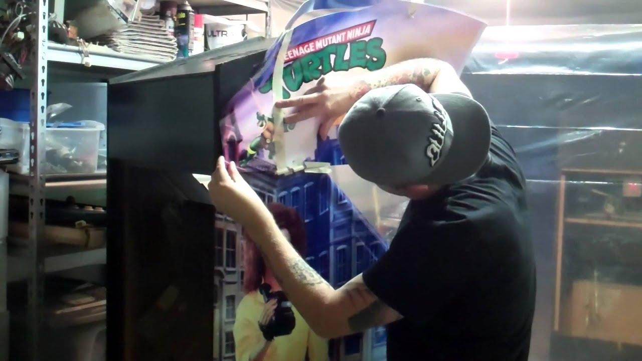 Ninja Turtles Arcade Cabinet Vinyl Graphics Install On Tmnt Arcade Arcadeskin Youtube