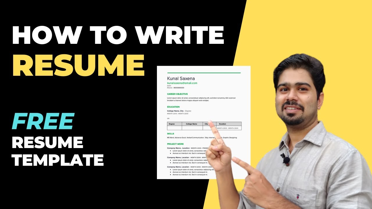 How To Write Resume For Freshers Resume For First Job Fresher