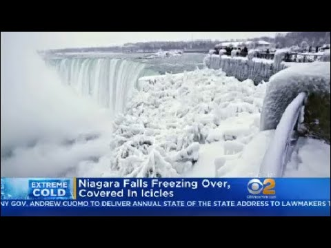 Niagara Falls Freezing Over, Covered In Icicles
