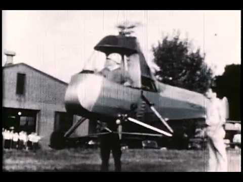 Frank Piasecki in early test flights of the PV-2